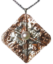 Load image into Gallery viewer, Sterling and Copper One-of-a-kind Pearl Pendant