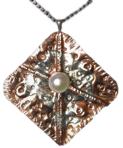 Sterling and Copper One-of-a-kind Pearl Pendant