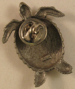 "Turtle Signed ""©JJ"" Jonette Jewelry Co. Pewter Pin/Tie Tack"
