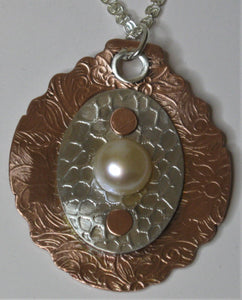 Sterling Silver and Copper Handcrafted Cultured Pearl Pendant