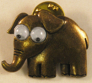 "Elephant w/Moving Eyes Signed ""©JJ"" Jonette Jewelry Co. Bronze Pin/Tie Tack"