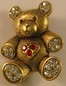"Bear w/Faceted Red and Clear Stones Signed ""©JJ"" Jonette Jewelry Co. Brass/Bronze Brooch"