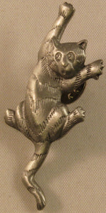 "Cat Climbing Signed ""©JJ"" Jonette Jewelry Co. Pewter Pin/Tie Tack"