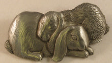 "Load image into Gallery viewer, Rabbit Couple Signed ""©JJ"" Jonette Jewelry Co. Pewter Brooch"