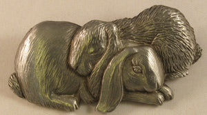 "Rabbit Couple Signed ""©JJ"" Jonette Jewelry Co. Pewter Brooch"