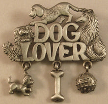 "Load image into Gallery viewer, Dog Lover Signed ""©JJ"" Jonette Jewelry Co. Pewter Brooch"