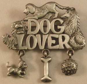 "Dog Lover Signed ""©JJ"" Jonette Jewelry Co. Pewter Brooch"
