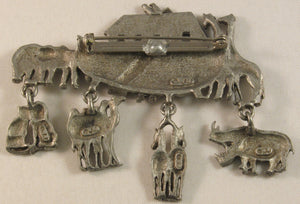 "Noah's Ark Signed ""©JJ"" Jonette Jewelry Co. Pewter Brooch"