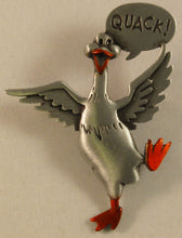 "Load image into Gallery viewer, Quacky Duck w/Accent Color Pewter Brooch Signed ""©JJ"" Jonette Jewelry Co."