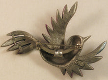 "Load image into Gallery viewer, Flying Bird w/Paint Accents Signed ""©JJ"" Jonette Jewelry Co. Pewter Brooch"