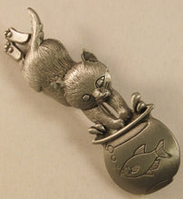 "Load image into Gallery viewer, Cat & Fishbowl Signed ""©JJ"" Jonette Jewelry Co. Pewter Brooch"