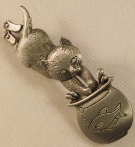 "Cat & Fishbowl Signed ""©JJ"" Jonette Jewelry Co. Pewter Brooch"