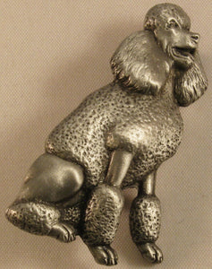 "Poodle Dog Signed ""©JJ"" Jonette Jewelry Co. Pewter Brooch"