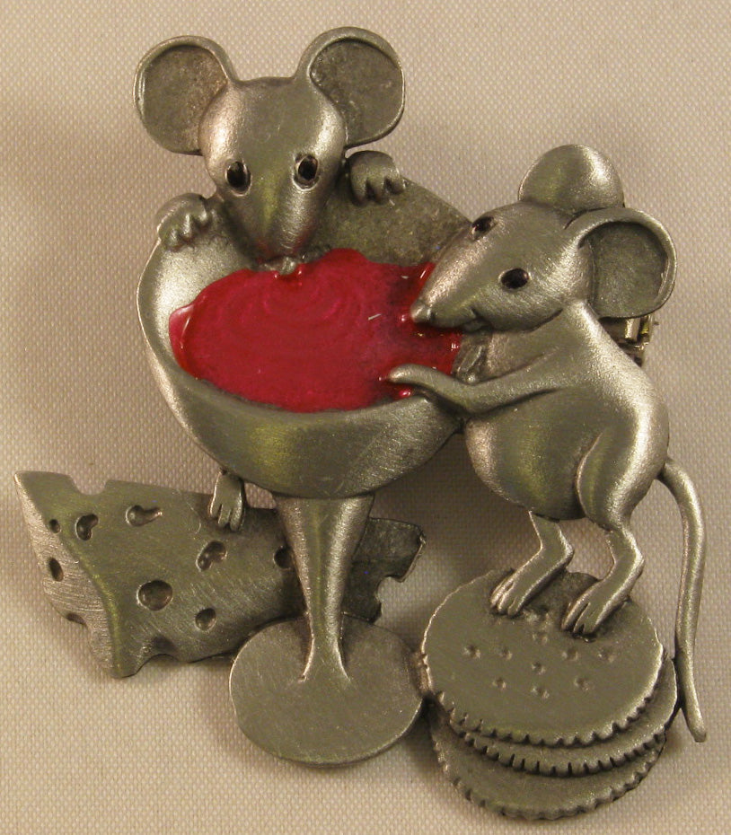 Mice Eating w/Accent Color Pewter Brooch Signed