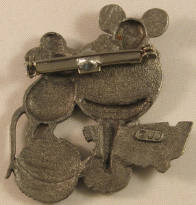 "Mice Eating w/Accent Color Pewter Brooch Signed ""©JJ"" Jonette Jewelry Co."
