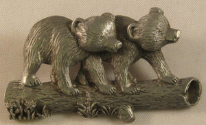 "Bear Cubs Signed""© JJ""Jonette Jewelry Co. Broche de peltre"