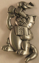 "Load image into Gallery viewer, Cat Bird Watching Signed ""©JJ"" Jonette Jewelry Co. Pewter Brooch"