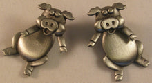 "Load image into Gallery viewer, Pig Pierced Pewter Earrings Signed ""©JJ"" Jonette Jewelry Co."