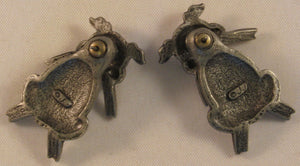 "Pig Pierced Pewter Earrings Signed ""©JJ"" Jonette Jewelry Co."
