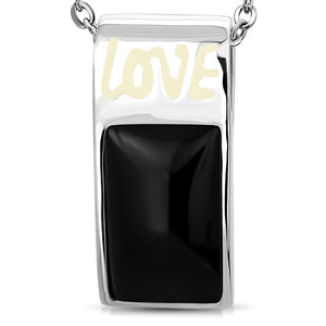 Stainless Steel Love Monogram Sport Whistle Style Pendant w/ Black Onyx Stone w/Chain