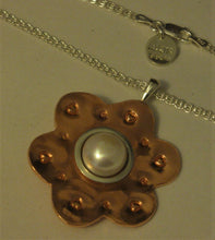 "Load image into Gallery viewer, Copper and Sterling Silver One-of-a-kind Pearl Pendant w/18"" Sterling Chain"