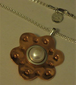 "Copper and Sterling Silver One-of-a-kind Pearl Pendant w/18"" Sterling Chain"