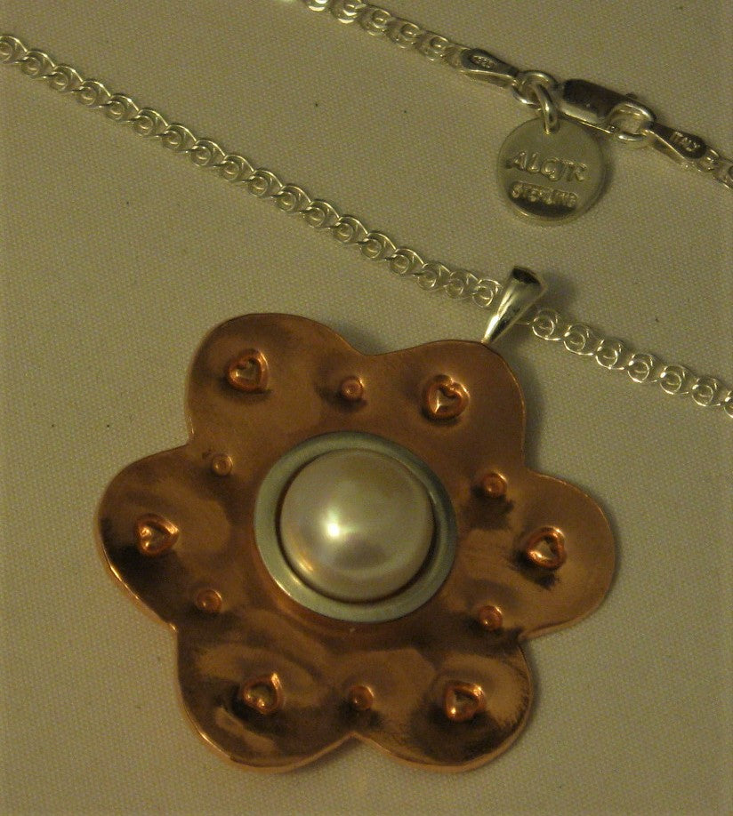 Copper and Sterling Silver One-of-a-kind Pearl Pendant w/18