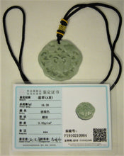Load image into Gallery viewer, Certified Natural A-Grade Jadeite Jade Pendant Carving of Bat Money Longevity