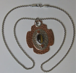 Sterling Silver and Copper Handcrafted Tiger Eye Pendant