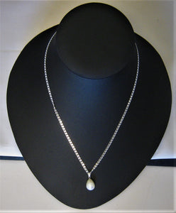 Exquisite Large White Cultured Pearl Pendant w/Sterling Heart Link Chain
