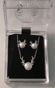 Matching Set: White Cultured Pearl Elk Antlers Earrings and Necklace in Sterling Silver