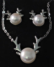 Load image into Gallery viewer, Matching Set: White Cultured Pearl Elk Antlers Earrings and Necklace in Sterling Silver