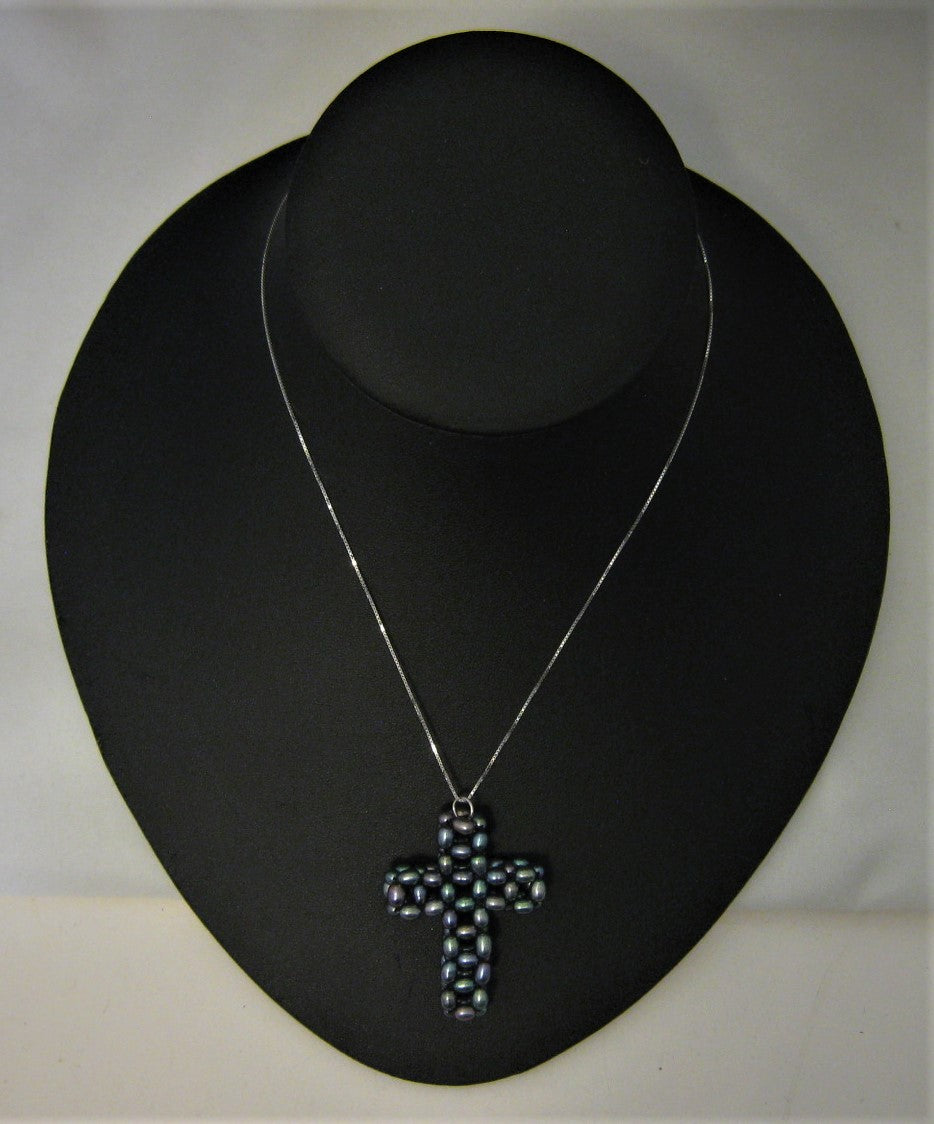 Rice Cultured Pearl Cross Pendant (Black-tone) w/Sterling Silver Chain