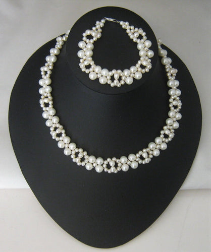 White Cultured Pearl Necklace & Bracelet Set w/Sterling Silver Clasp