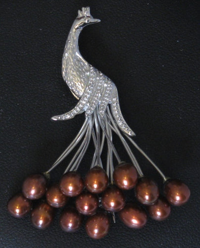 Clustered Chocolate Peacock Cultured Pearl Brooch