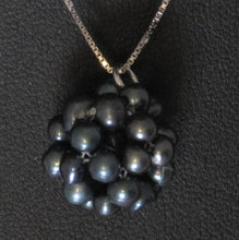Load image into Gallery viewer, Snowball Cluster Black Cultured Pearl Pendant and Fish-hook Earrings Set