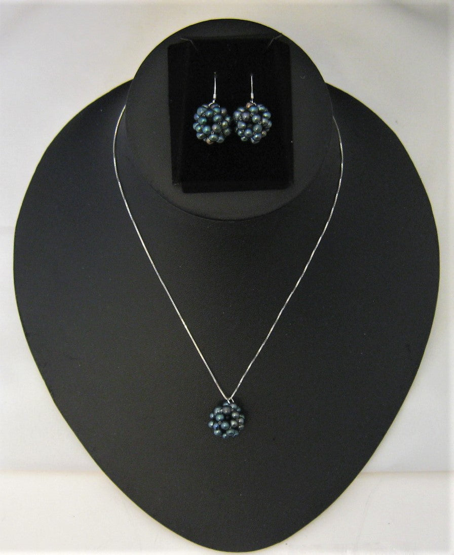 Snowball Cluster Black Cultured Pearl Pendant and Fish-hook Earrings Set