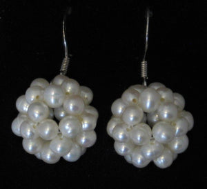 Snowball Cluster White Cultured Pearl Pendant and Fish-hook Earrings Set