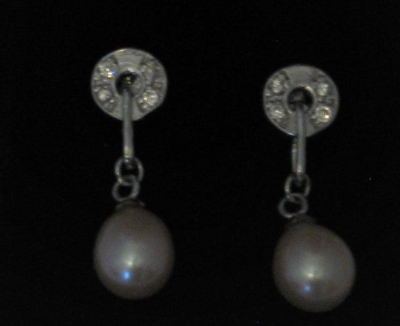 Cultured 7mm-8mm Pink Drop Pearl Sterling Silver w/Circle French Hook Earrings
