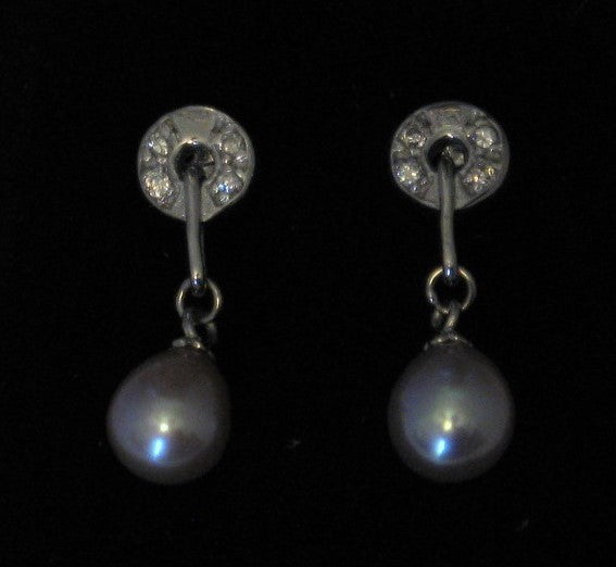 Cultured 7mm-8mm Mauve Drop Pearl Sterling Silver w/Circle French Hook Earrings