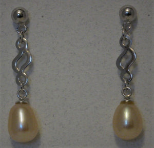 Cultured 7mm-8mm Pink Teardrop Pearl Sterling Silver Post  Earrings