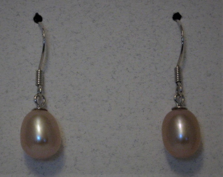 Cultured 7mm-8mm Mauve Drop Pearl Sterling Silver French Hook Earrings