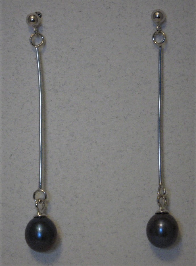 Cultured 7mm-8mm Black Drop Pearl Sterling Silver Post Earrings