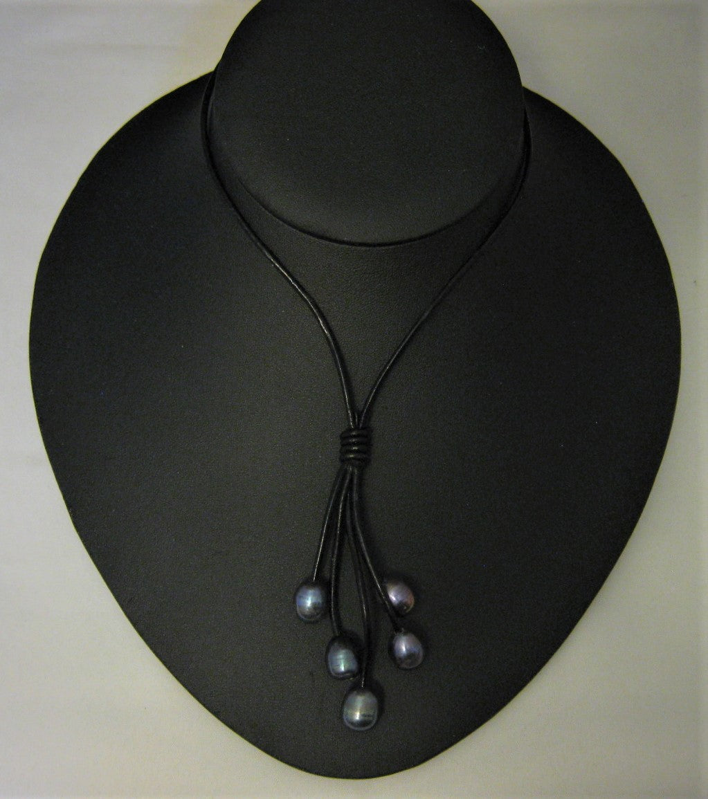 Deep Blue/Gray Rice Cultured Pearl w/Black Leather Drop 18