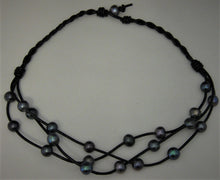 "Load image into Gallery viewer, Black Potato Cultured Pearl 3-Strand w/Black 18"" Leather Lariat Necklace"