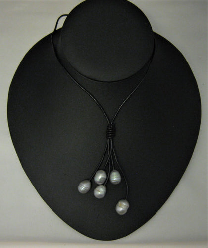 Gray Rice Cultured Pearl w/Black Leather Drop 18