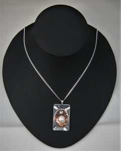 Argentium Silver & Copper Pendant w/AA+ Quality Button Pearl and Swarovski Crystal