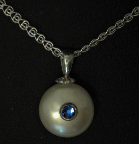 Sterling Silver Mounted AA Quality Cultured Coin Pearl Pendant w/Swarovski® Blue Sapphire Crystal