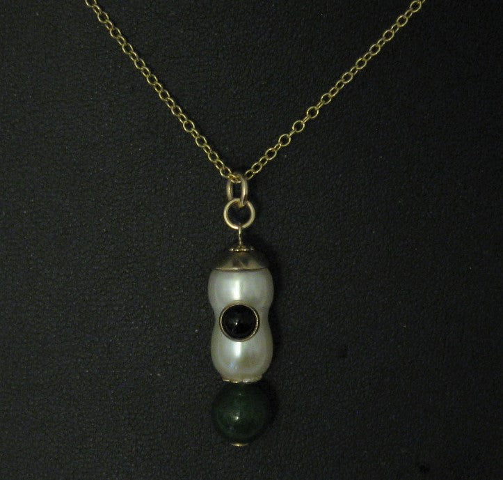 14k GF Mounted AA Quality Peanut Cultured Pearl w/Jade and Black Onyx Stones