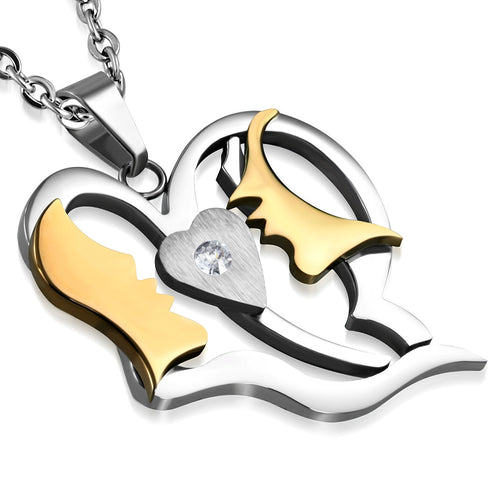 Stainless Steel 2-tone Burnish Set First Kiss Open Love Heart Charm Pendant w/ Clear CZ w/Chain